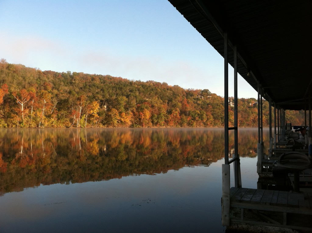 Boat dock, morning, Lake Taneycomo, Hollister., Mo., October something, 2012.