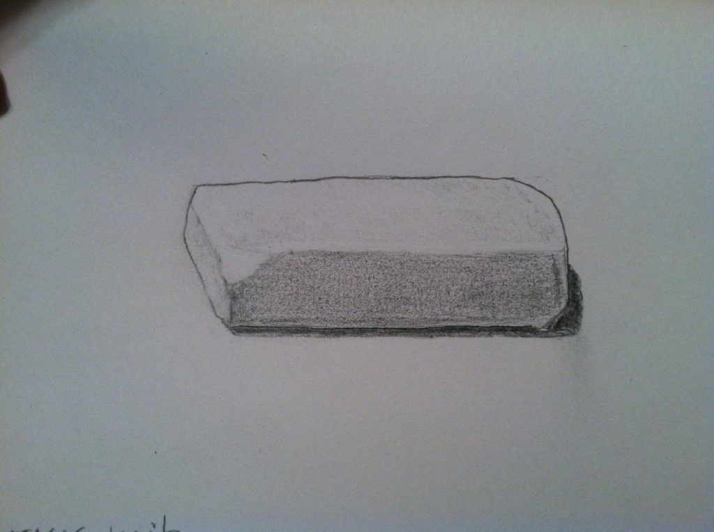 The eraser waits until it is needed. It takes on its body the marks of the mistakes it removes, and smudges of the grubby hand that holds it.